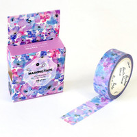 Wholesale Flowers Stories - Wholesale- 2016 1piece lossoming Floral Purple Flowers Story Washi Tape Adhesive Tape DIY Scrapbooking Sticker Label Masking Tape