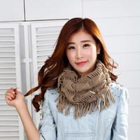 Wholesale Girls Ladies Knitted Scarves - Wholesale Fashion Women Winter Warm Knit Loop Scarf Tassels Soft Shawl Fringe Neck Wrap Circle Snood Scarf Shawl lady girls fashion scarves