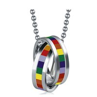 Wholesale Double Loop Chains - Wholesale-Hot sale stainless steel necklace pendant double loop design for men and women rainbow jewelry