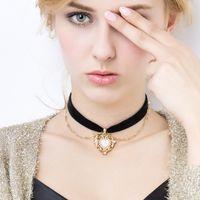 Wholesale Vintage Chain Maxi - 2017 Fashion Multilayer Gothic Black Heart collar Chocker Necklace Pendant long Chain Vintage maxi Necklace Women Jewelry