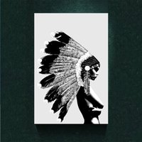 paint bonnet - Native Indian Girl War Bonnet Abstract Street Art Canvas Poster Print Oil Painting Printed on Canvas Poster Bar Pub Home Art Decor Custom