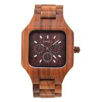 relojes digitales movimiento japon al por mayor-2017 Naturaleza Relojes de madera de sándalo Movimiento de Japón Reloj de cuarzo Reloj para hombre de madera Relojes para hombres con reloj ajustable Reloj analógico W001A