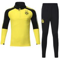 Wholesale Man Set Clothes - top qualily Dortmundes tracksuit Jacket Set Men Kit long sleeve Training suit pants football Borussia Aubameyang Reus clothes sports wear