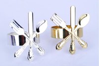 Wholesale Kitchen Dining Bar Table Decoration Accessories stainless steel Gold silver knife fork Napkin Rings