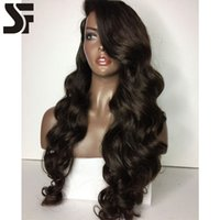 Wholesale Long Deep Wavy Hairstyles - SF Hot Selling Glueless Lace Wig With Natural Hairlines And Baby Hair 100% Unprocessed Long Wavy Brazilian Lace Front Wig For Black Women