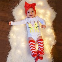 Wholesale Cute Casual Outfits For Girls - Christmas Set For Baby Girls New Cute Deer Printed Long Sleeve Rompers Ankle Socks Bow Headband Fashion Girl Sets Kids Outfits A7247