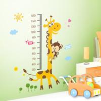 Wholesale Ruler Adhesive - 8 Designs Kids Height Chart Wall Sticker home Decor Cartoon Giraffe Height Ruler Home Decoration room Decals Wall Art Sticker wallpaper
