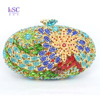 Wholesale studded leather purses - Wholesale-LaiSC studded jeweled clutch Wedding Bridal purse Luxury Diamond Evening Bags Lady Gold clutch Women Crystal Party Bags SC043