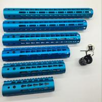 "Wholesale Barrel Rail Mounts - 7''9''10''12''15"" Inch Ultra Light Slim Anodized Blue Keymod Free Floating Hand Guard Fore Rail Mount System with Steel Barrel Nut"
