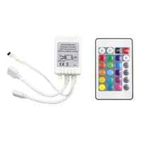 Wholesale led controller connector - Mini DC12V 24Key Dual Connectors RGB Controller IR Remote Controller With Mini Receiver For 3528 5050 RGB LED Strip Light
