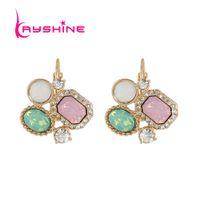 Wholesale Red Crystal Hoop Earrings - Kayshine Luxury Jewelry Gold-Color with Rhinestone Pink Green Crystal Geometric Hoop Earrings Fashion Accessories