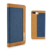 Wholesale Linen Iphone Case - Linen PU Leather Wallet Case with Card Slots Kickstand Magnetic Cover Wear-proof For iPhone 7 6s plus Samsung s8 Plus Retail Package