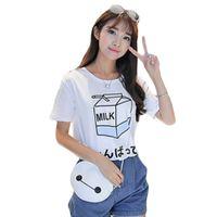 Wholesale Basic Japanese - Wholesale- 2016 Summer Fashion Women Japanese Cute Soft Milk Box Print Loose Short Sleeve T-Shirts Lady Girls Basic Tee T Shirts Tops