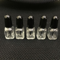 Wholesale Wholesale Art Glass Containers - 2ml Square Glass Empty Polish Mini Bottle With Brush Transparent Nail Art Polish Containers Clear Glass Glue Bottle For Sample