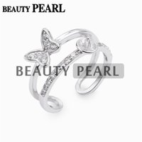Wholesale Mounted Butterflies - 5 Pieces Double Band Ring Base Butterfly Zircon 925 Sterling Silver DIY Pearl Ring Semi Mount