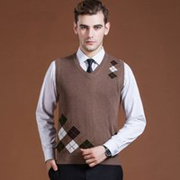 Wholesale England Wool Sweater - Men's Fashion Clothing New Wool Sweater Pullover Tops V Neck for Autumn Winter Casual Sleeveless Basic Knit Vest 2016C016