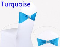 Wholesale Turquoise Spandex Chair Bands - Turquoise colour Crown buckle lycra sash for wedding chairs decoration spandex band stretch bow tie lycra ribbon belt on sale