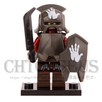 Wholesale Toy Helmet Wholesale - WholeSale 20pcs The Lord of the Rings Hobbit Uruk-Hai with Helmet Minifigures Assemble Model Building Blocks Kids Toys Gifts