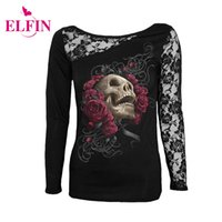 Wholesale Woman White Skull Tee - Wholesale- Women'S Fashion T-Shirt Sexy Skull Print Long Sleeves Black Lace Patchwork Tee Tops Pullovers Punk Clothes Plus Size LJ7915R