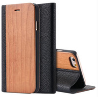 Wholesale Iphone Book Style - For iPhone 7 6s Plus Real Wooden Flip Cases For iPhone 7 Genuine Natural Wood+PU Leather Wallet Stand Cover Book Style Fundas Card Slots