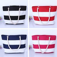 Wholesale Stripe Canvas Tote Beach Bags - Women Beach Canvas handbags Bag Fashion Stripes Printing Handbag Ladies Large Shoulder Bags Tote Casual Shopping Bags wholesale 2017