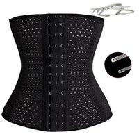 Wholesale Wholesale Cheap Plus Size Corsets - 3Rows hooks women slimming Cheap body shaper Bustier belt fashion 4 steel boned waist trainer corsets black Plus size Shapewear
