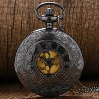 antika çağdaş antetli saatler toptan satış-Siyah Gri Roma Dial kuvars Vintage Antik Pocket saat kolye zinciri P413 ile saatler