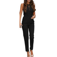 Wholesale Lace Rompers Xs - Wholesale- New Brand 2016 Fashion Bodycon Rompers Womens Jumpsuit Sleeveless Lace Patchwork Long Playsuits Black Overalls Plus Size 4XL