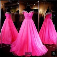 Wholesale Best Wedding Gown Designers - New designer a line fuchsia off the shoulder beading prom dresses elegant pleated real picture prom gowns best selling 2016