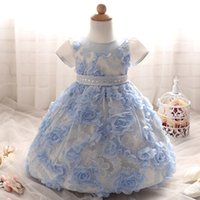 Wholesale Decorations For Sashes Dresses - B- Baby Girls Lace Flower Princess Gown Flower Embroidery Baptism Dress Rhinestone waist decoration girls dress 3sizes for 0-2T
