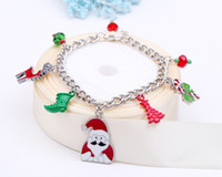 Wholesale Wholesale Plate Glass Prices - Wholesae Factory price Santa Claus Charm Christmas trees Bracelet Unisex Bracelet glass bead bracelet & Bangles For present FJHYBX32541