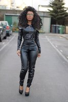 Wholesale Tight Leather Outfits - 2017 Sexy Women PU Tight Jumpsuits Fashion PU Faux Leather Slim Night Clubwear Front Zipper Jumpsuits Rompers One Piece set Outfits pants