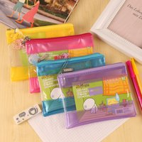 Wholesale Document Transparent - PVC plastic transparent cartoon design kawaii pencil case pencil bag pouch stationery plastic envelope document pouch school supplies