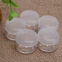 Wholesale Empty Round Case - Wholesale 50pcs lot Outdoor Travel Portable Clear Transparent Empty Makeup Cosmetic Sample Case Holder Storage Containers Small Round