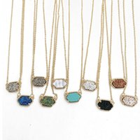 Wholesale Ship Kites - Hot kite shinning Necklace, Durzy Silver Gold Plated Geometry Stone, 10 Colors, Cute gift for women, Free Shipping and hign quality
