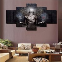 Wholesale Gray Canvas Painting - Framed 5 Panels set Cameron Gray Buddha,genuine Hand Painted Modern Home Decor Wall Art Oil Painting On Canvas.Multi sizes Free Shipping 005