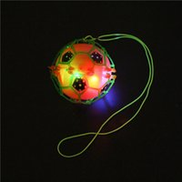 Wholesale Led Flashing Bounce Balls - Flash LED Dance Football Ball Baby Toys LED Light Flashing Bounce Ball children creative dancing bouncing ball with rope Kids Gift