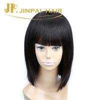 Wholesale Long Black Bob - JP Hair Virgin Unprocessed Bob Wigs Long Lasting Natural Black Fringe Lace Front Human Hair Wigs