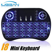 Wholesale Touch Pad Fly Air Mouse - 100PCS Mini Keyboard Backlit Mouse Multi-touch Pad 2.4G Rii i8+ Wireless Game Keyboard Fly Air Mouse Remote for MXQ Andriod TV Box IPTV