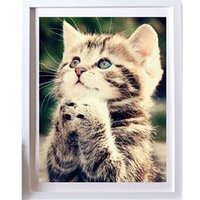 Wholesale Kitten Cross Stitch - New 25*30cm DIY 5D Naughty Kitten Cat Stitch Kit Crystal Diamond Embroidery Painting Cross Stitch Home Decor Craft