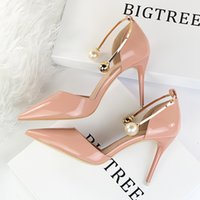 Wholesale Sandals Shallow - New Women Summer Elegant Pumps Thin Heels Patent Leather Shallow Pointed Sweet Pearl Sandals Metal High Heels Shoes G923-13