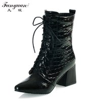 Wholesale Female Boots For Sale - Wholesale- Big Size 34-43 Fashion Thick High Heels Lace Up Ankle Boots For Female Sexy Lady's Pointed Toe Lady's Dress Shoes Hot Sale