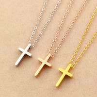 Wholesale 18k Solid Gold Cross - New Arrival Top Quality 316L Titanium steel Luxury Solid Cross Women Charm Necklace Fashion Jewelry PS4003