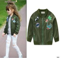 Wholesale Girl Army Jacket - Girls Army Green Jacket Coat Outerwear Spring Fall Kids Tops Fashion Zipper Applique Jackets Coats Kids Clothes Boutique Kids Clothing 2-7Y