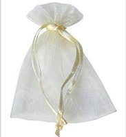 Wholesale Organza Beige Bags - 100 Pcs Beige Organza Jewelry Gift Pouch Bags Ivory 9X12cm ( 3.5 x 4.7 inch) Drawstring Bag Organza Dark Blue DIY Gift Candy Bags