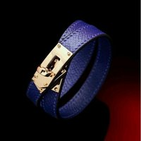 Wholesale Leather Flag Bracelet - Women's bracelet Leather Bracelet metal H