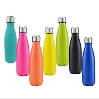 Wholesale insulated sports bottles - 500ml Cola Shaped Bottle Insulated Water Bottle Creative Thermos Coke cup Water Bottle Outdoor Sports Bicycle Travel Cup 50pcs KKA1791