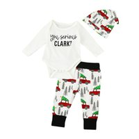 Wholesale American Style Hats For Children - 2017 Baby Boys Christmas Clothes Kids Three Pieces Clothing Toddler Autumn Sets Children Hat Romper Pants Suit For 70-100cm
