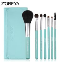 Wholesale brush zoreya - Zoreya Make Up Brushes 7pcs Pony Hair Cosmetic Set with Leather Bag As Fashion Woman Basic Makeup Brush Kit