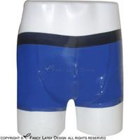 Wholesale Rubber Boxers - Sexy Latex Boxer Shorts With Black Trims Fetish Rubber Boy Shorts Underpants Underwear Bondage Pants Plus Size